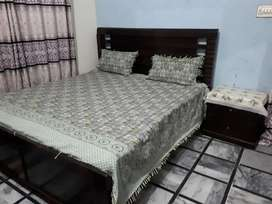 King size bed with dressing table and side tables with mattress