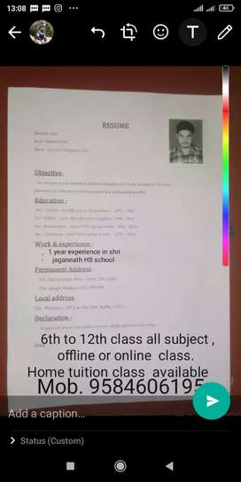 Coching for 11th, 12th, Bsc chemistry( Hindi &English medium )