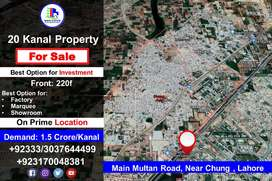 20-Kanal Property for Sale on Main Multan Road, Near Chung , Lahore
