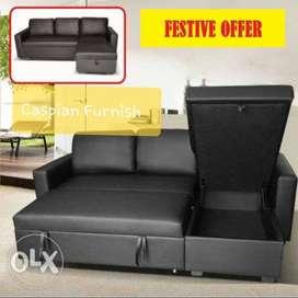 1.2 Caspian New Sofa cum bed with storage in black rexine