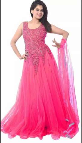 New florence pink net embroidered gown