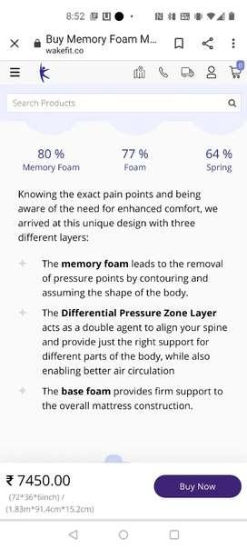 wakefit orthopaedic memory foam mattress