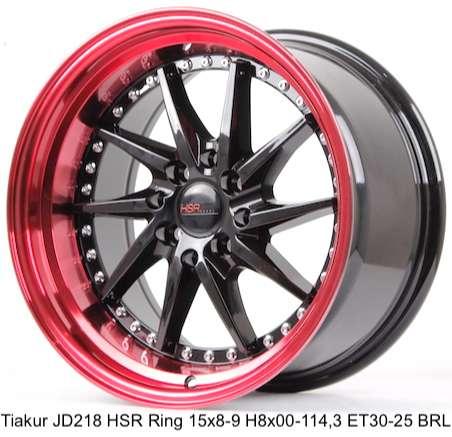 Velg original TIAKUR JD218 HSR R16X8/9 H8X100-114,3 ET30/25 BK/REDL 0