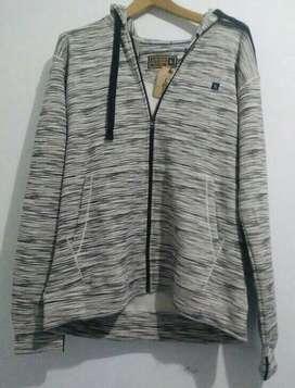 Kirim Free --COD-- Jaket zipper hoodie good ori distro abu white strip