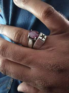 Ruby stone ring  silver