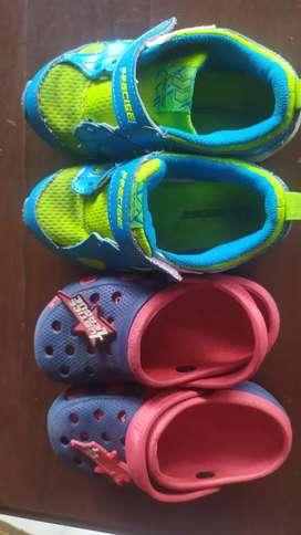 Dijual sepatu  PRECISE dan sandal JUSTICE LEAGUE anak