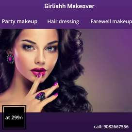 Party makeup - hair dressing - any type of makeup