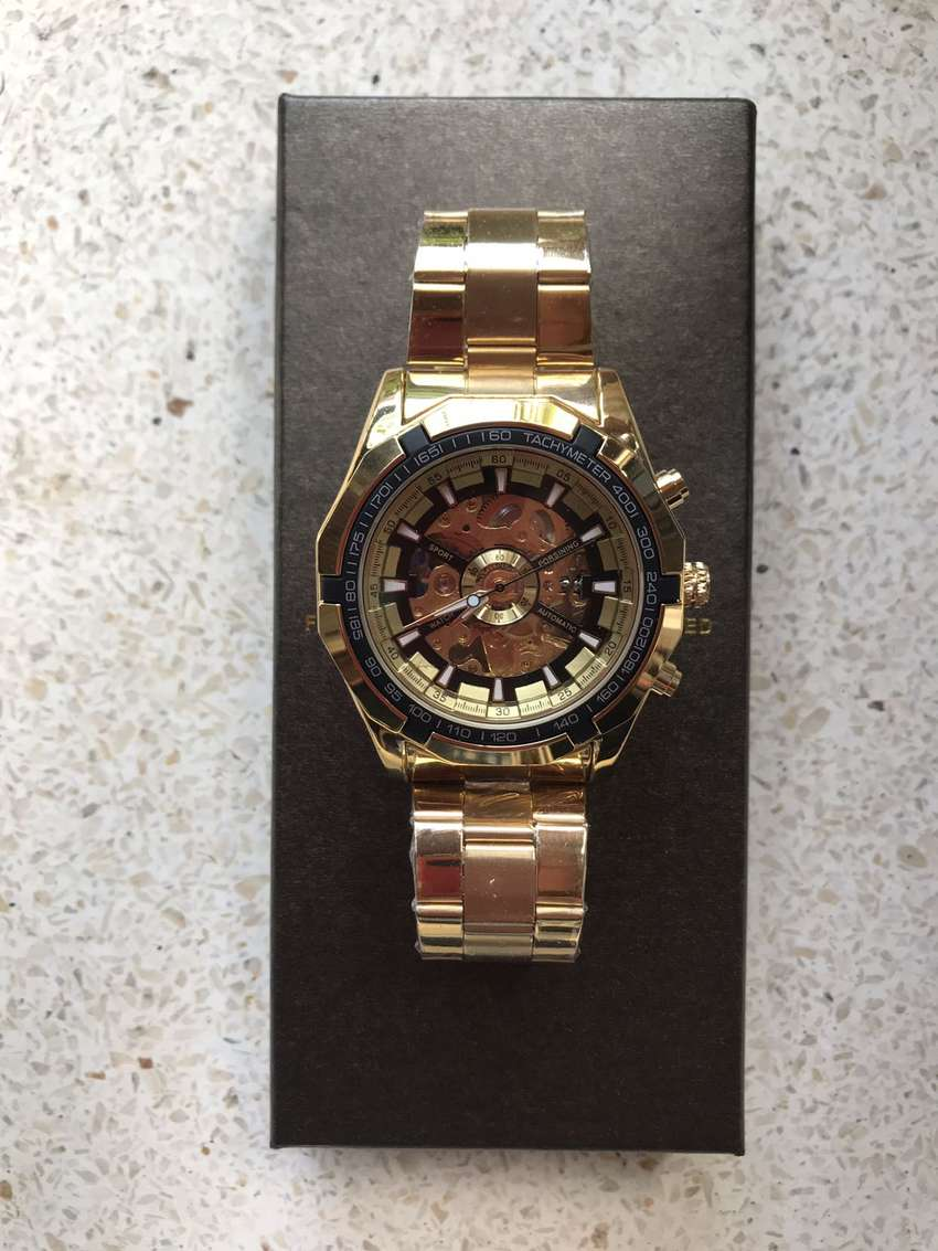 Jam Automatic Forsining Gold 45mm Original New 0