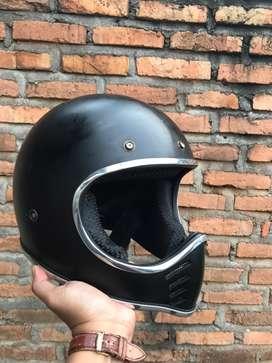 Helm Cakil Fullface Retro Jadul list chrome krom Moto 3 custom