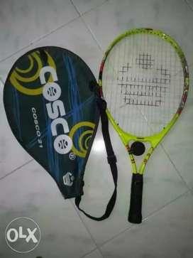 Grey n black cosco tennis racket with ball