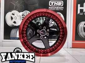 Velg Mobil HSR Wheel ARMBAR Ring 16 Black Machine Red