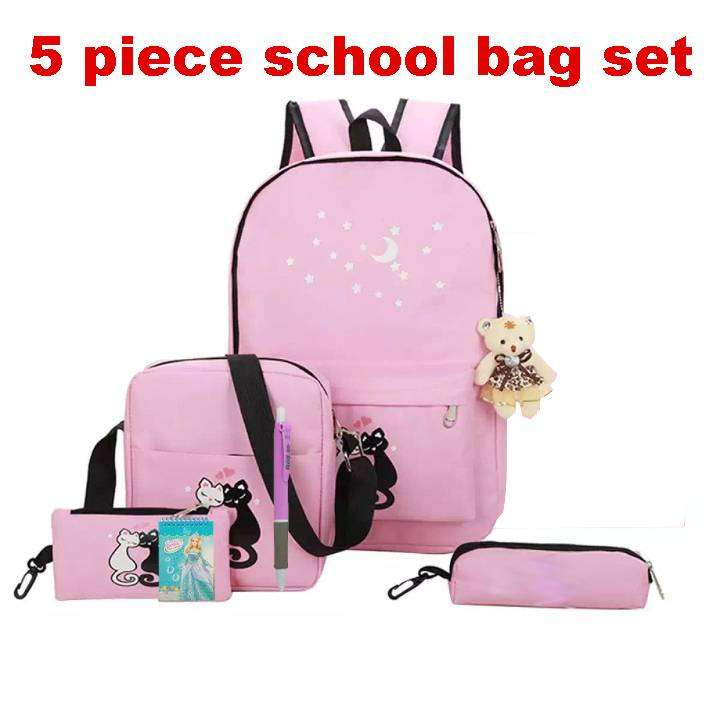 5 Pcs Set Cute Animal Star Printing Girls Backpack School Bags with fr 0