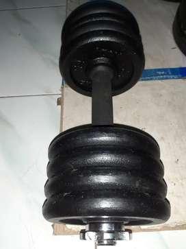 Barbell set plate besi beban 14kg/iron dumbell set import hemat awet