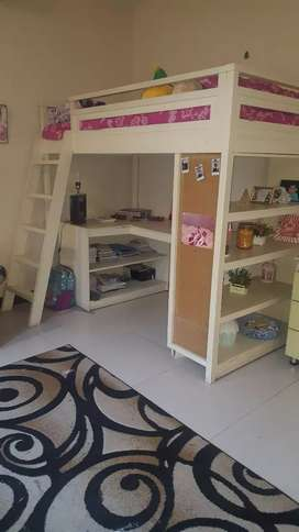 White bunk bed/ study area