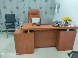 Office desk , office chairs, 1 round shape desk long
