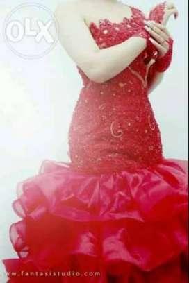 Baju Dress/Pengantin Wanita Warna Merah