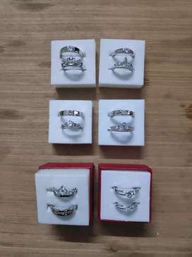 Couple silver plated adjustable ring set