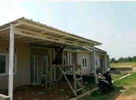 Kontruksi kanopy rangka baja ringan,Atap spandek..017