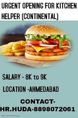 URGENT OPENING FOR KITCHEN HELPER AT AHMEDABAD