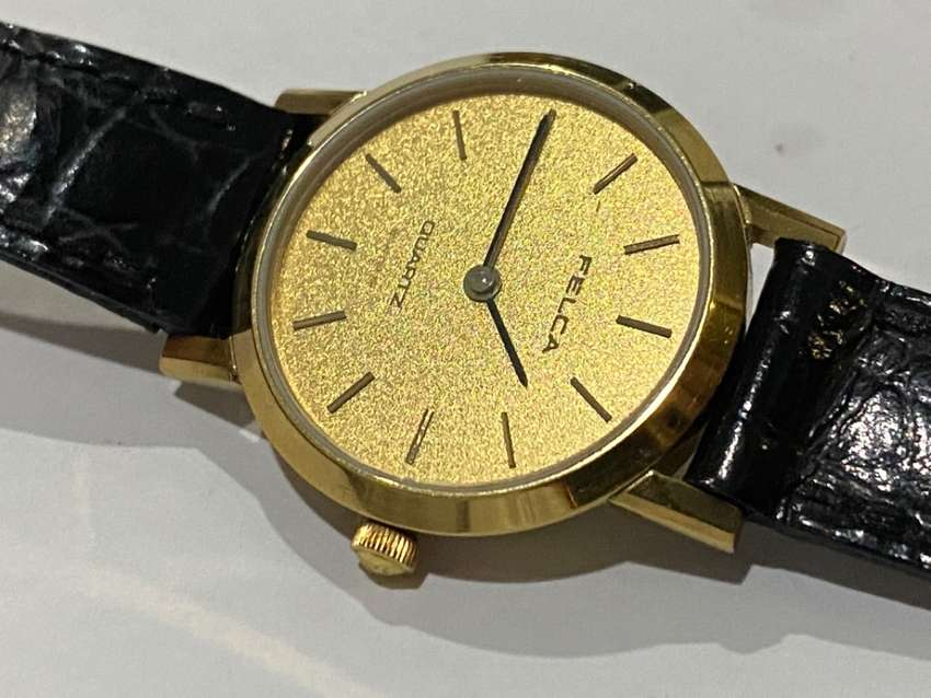 RARE FELCA 18k ELECTRO GOLD PLATED LADIES WATCH,1980's,NEW OLD STOCK