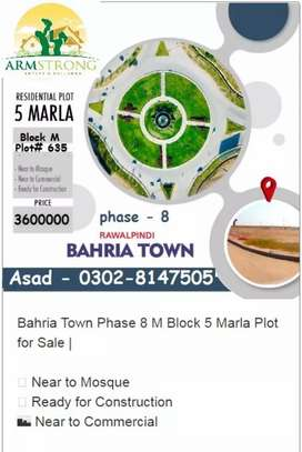bahria town 5 Marla plot in M block Size 25x45, Ready for Contruction