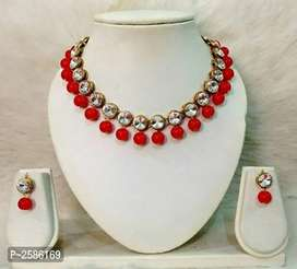 Kundan work necklace with earrings