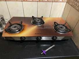 Kapli glass top three burner gas stove