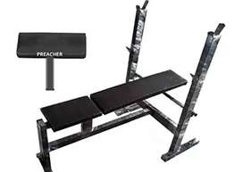 Produmn Gym Leather Bench(Seal Packed - With all accesories & PRECHER)