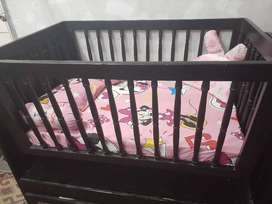 Baby Cot (Jhoola & Baby Bed) with Mattress and Bed Sheet