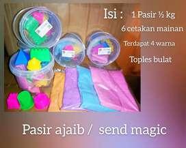 Magic sand mainan edukasi dan cetakan pasir 1/2kg warna
