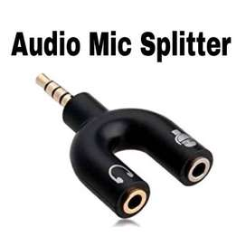 Splitter Jack 3.5mm Male ke Dual Female Headphone dan Microphone