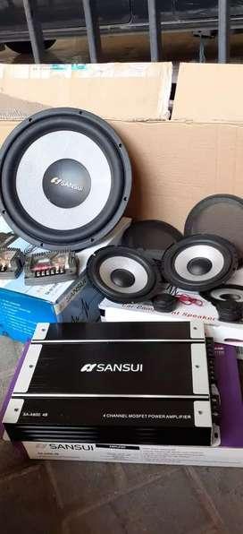 Paket audio komplit merk sansui di jamin suara mantap .