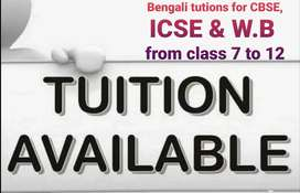 Home tutor for Bengali class 7 to 12(CBSE, ICSE, W.B)tuition available