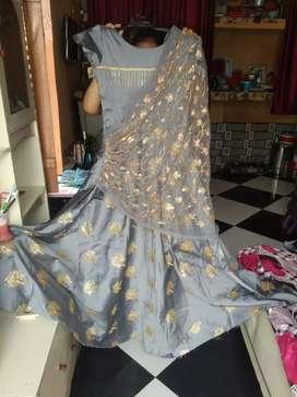 Grey colour heavy net work dupatta joint style gawn
