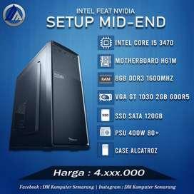 PC Gaming Editing Mid End Intel I5 3470 VGA GT 1030 2GB SSD 120GB