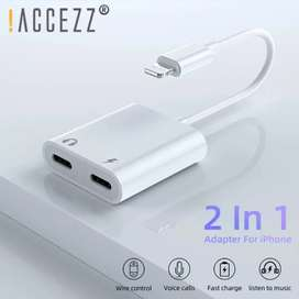 IPhone XS MAX XR X 7 8 3.5mm Jack Dual Lighting Earphone Audio Adapter