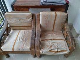 2 single solid wood sofa