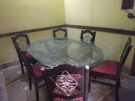 Dining table with 6 chair shesham woodcarving iron work without glass.