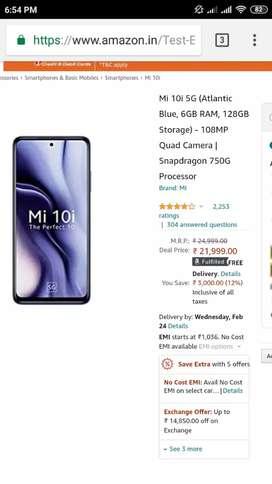 Mi 10i 5G 6GB 128GB Unbox Piece for Sale
