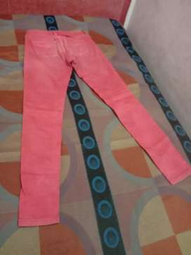 Jeans of pink colour waist 28 length 39