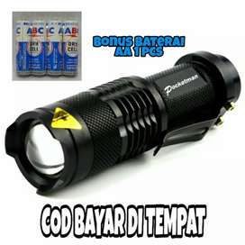 TaffLED Senter LED 2000 Lumens Waterproof Pocketman - Black
