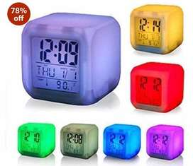 Led table clock with color changing feature