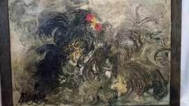 Lukisan Affandi judul ayam tarung