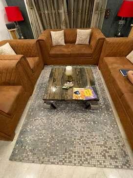 Beautiful modern carpet wool mosaic pattern grey base blue white hues