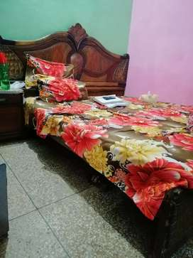 Wooden Bed Set with Side Tables