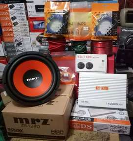 "Bass OK Plus Pemasangan,Sub MRZ 12""+Power ADS 4Ch+Tweter+Box mdf+Kabel"