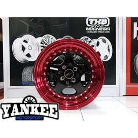 Cicil Velg Mobil DP 10% HSR Wheel BURN Ring 15 PCD 4X100-114,3 BK Red