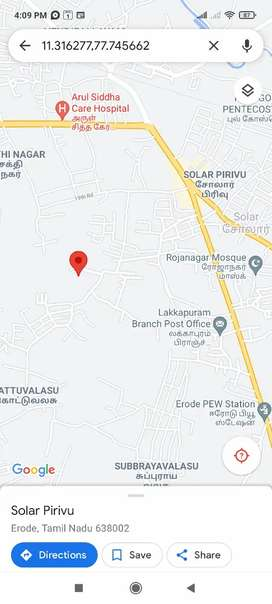 One acre Vacant land for Rent. Solar, Erode
