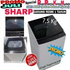 Mesin cuci Sharp 1 tabung 7,5kg pintu otomatis tertutup