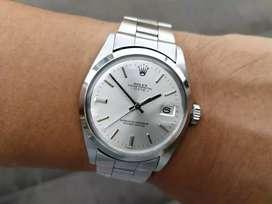 Ori 1970 Rolex Oyster Perpetual Date 1500 silver sunburst dial No Lume